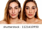 comparition portrait of same... | Shutterstock . vector #1121610950