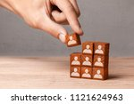 building team. the leader... | Shutterstock . vector #1121624963