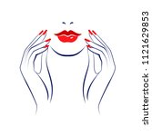 beautiful sexy red lips  lush... | Shutterstock .eps vector #1121629853