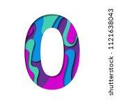 alphabet paper cut number zero... | Shutterstock .eps vector #1121638043