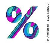 percent sign. paper cut... | Shutterstock .eps vector #1121638070