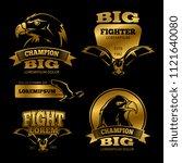 shiny golden eagle heraldry... | Shutterstock .eps vector #1121640080