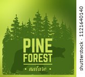 pine forest silhouette with...   Shutterstock .eps vector #1121640140