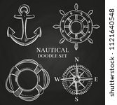 nautical doodle elements on... | Shutterstock .eps vector #1121640548