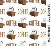coffee cups seamless pattern...   Shutterstock .eps vector #1121640650