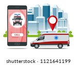 all ambulance car via mobile... | Shutterstock .eps vector #1121641199