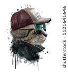 Stock photo watercolor portrait of cool cat with glasses hand drawn illustration animal graphics custom print 1121641646