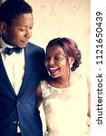 cheerful african descent bride... | Shutterstock . vector #1121650439