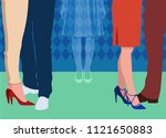 lonely girl feels invisible at... | Shutterstock .eps vector #1121650883