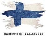 grunge finland flag. finland... | Shutterstock . vector #1121651813
