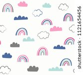 cute doodle vector pattern with ... | Shutterstock .eps vector #1121654456