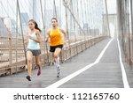 running couple. runners... | Shutterstock . vector #112165760