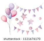 Watercolor Birthday Set With...