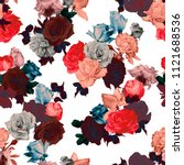 seamless floral pattern with... | Shutterstock . vector #1121688536