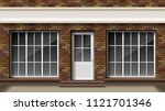 Brick small 3d store or boutique front facade. Exterior empty boutique shop with big window. Blank mockup of stylish realistic street shop. Vector illustration