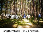 medieval german tents in a... | Shutterstock . vector #1121705033