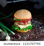 fresh homemade burger with... | Shutterstock . vector #1121707793