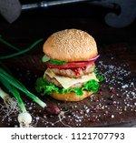 fresh homemade burger with... | Shutterstock . vector #1121707793