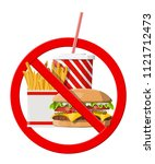 no fast food allowed. rejecting ...   Shutterstock . vector #1121712473