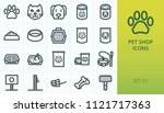 Stock vector pet shop icons set set of cat and dog pet carrier aluminium packing food for cat and dog litter 1121717363