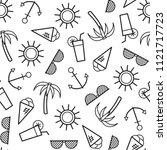 summer seamless pattern. vector ... | Shutterstock .eps vector #1121717723