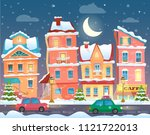 xmas card with a decorated... | Shutterstock . vector #1121722013
