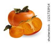 persimmon on white background | Shutterstock . vector #1121733914