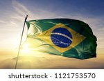 Stock photo brazil national flag textile cloth fabric waving on the top 1121753570