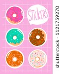 hand drawn donuts. colored... | Shutterstock .eps vector #1121759270