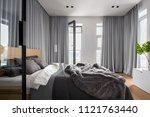 luxury bedroom interior with... | Shutterstock . vector #1121763440