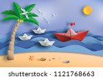 paper art style of origami boat ... | Shutterstock .eps vector #1121768663