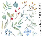 watercolor leaves collection.... | Shutterstock . vector #1121775353