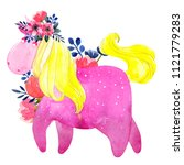 watercolor unicorn and flowers. ...   Shutterstock . vector #1121779283