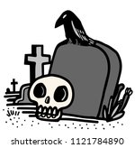 cemetery with a tomb and a crow ...   Shutterstock .eps vector #1121784890