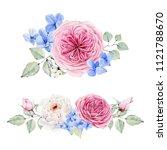 handpainted watercolor flowers... | Shutterstock . vector #1121788670