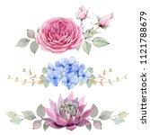 handpainted watercolor flowers... | Shutterstock . vector #1121788679
