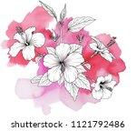 hibiscus flowers. hand drawn... | Shutterstock .eps vector #1121792486