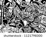 guardian of the underwater... | Shutterstock . vector #1121798300