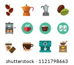 coffee icon set. beans coffee... | Shutterstock .eps vector #1121798663