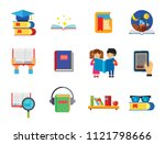book icon set. magnifier... | Shutterstock .eps vector #1121798666