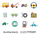 car icon set. steering wheel... | Shutterstock .eps vector #1121799089