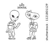 alien humanoid girl and boy...   Shutterstock .eps vector #1121801129