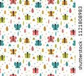 hand drawn seamless pattern... | Shutterstock .eps vector #1121808983