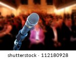 close up of microphone in... | Shutterstock . vector #112180928