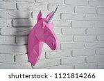bright pink unicorn's head ... | Shutterstock . vector #1121814266