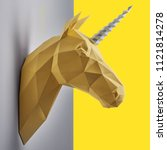 fancy saturated yellow unicorn... | Shutterstock . vector #1121814278