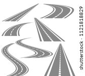 bending roads vector set  stock ... | Shutterstock .eps vector #1121818829