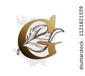 alphabet with decorative plant... | Shutterstock .eps vector #1121821559