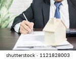 bank officer sign contract for... | Shutterstock . vector #1121828003