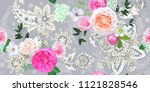 floral seamless pattern with... | Shutterstock .eps vector #1121828546